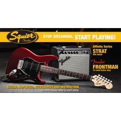 SQUIER STOP DREAMING START PLAYING SET AFFINITY STRAT CAR HSS Y AMPLIFICADOR FENDER FRONTMAN 15G