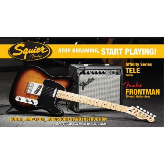 SQUIER STOP DREAMING START PLAYING SET AFFINITY TELECASTER BROWN CON AMPLI  FENDER FRONTMAN 15G