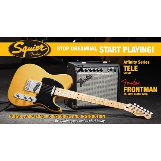 SQUIER STOP DREAMING START PLAYING GUITARRA TELECASTER AFFINITY Y AMPLIFICADOR FENDER FRONTMAN 15G