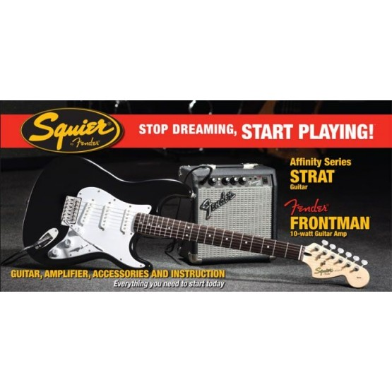 SQUIER STOP DREAMING START PLAYING SET AFFINITY STRAT BLK Y AMPLIFICADOR FENDER FRONTMAN 10G