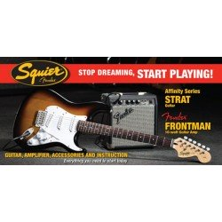 SQUIER STOP DREAMING START PLAYING SET AFFINITY STRATOCASTER BROWN SUNBURST Y AMPLI FRONTMAN. OUTLET