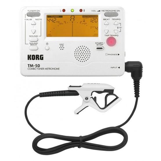 KORG TM50C WH AFINADOR/METRONOMO BLANCO + MICROFONO DE CONTACTO