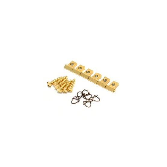 ALL PARTS BP0305002 NASHVILLE TUNEMATIC SADDLES WITH SCREWS AND CLIPS (SET OF 6), GOLD