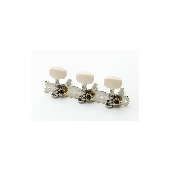 ALL PARTS TK0776001 3 X 3 TUNING KEYS OPEN GEAR ON A PLANK WITH WHITE BUTTONS