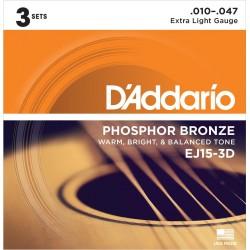 D'ADDARIO EJ153D JUEGOS CUERDAS GUITARRA ACUSTICA (SET 3) 010-047