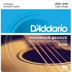 D'ADDARIO EJ38 JUEGO 12 CUERDAS GUITARRA ACUSTICA 010-027 010-047