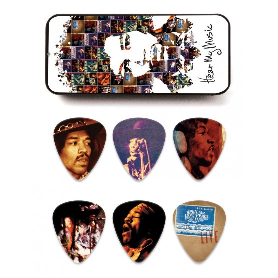 DUNLOP JHPT07M ESTUCHE METALICO 12 PUAS MEDIUM JIMI HENDRIX HEAR MY MUSIC