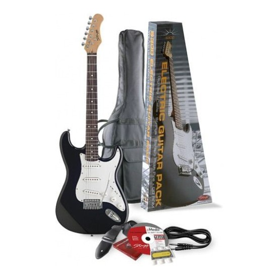 STAGG S300 PACK NEGRO GUITARRA ELECTRICA STRATO