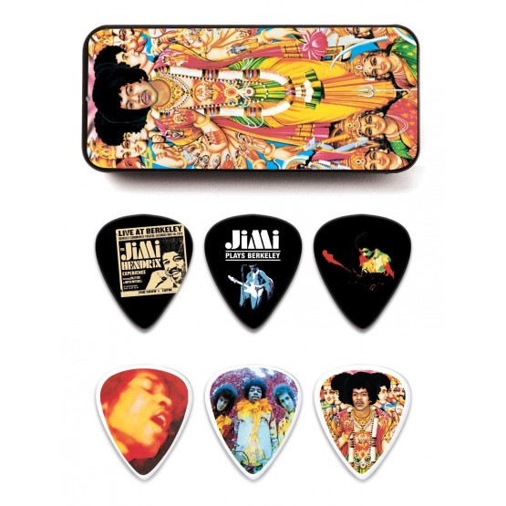 DUNLOP JHPTR02M ESTUCHE METAL 12 PUAS MEDIUM JIMI HENDRIX BOLD AS LOVE
