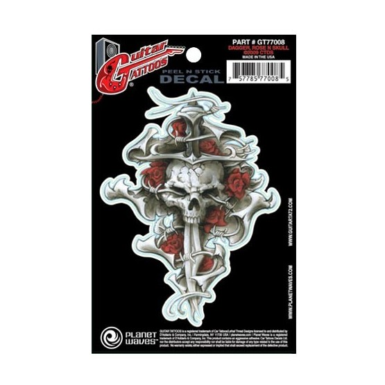 PLANET WAVES GT77008 GUITAR TATOO DAGGER ROSE SKULL (SET 5 PEGATINAS)
