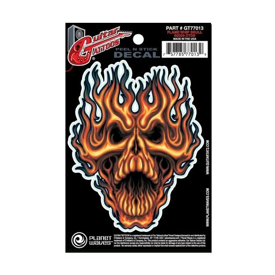 PLANET WAVES GT77013 GUITAR TATOO FLAME WHIP SKULL (SET 5 PEGATINAS)