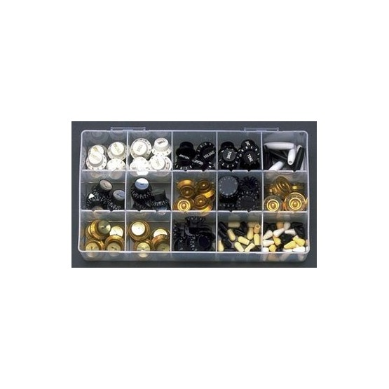 ALL PARTS KBKit KNOB BOX - 144 KNOBS, PLUS THE SECTIONED PLASTIC BOX