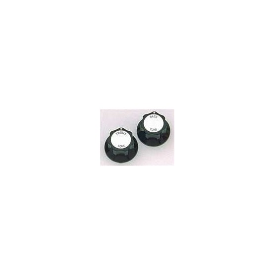 ALL PARTS PK3246023 BLACK TREBLE/BASS TONE KNOBS (2) WITH SILVER TOP FOR RICKENBACKER