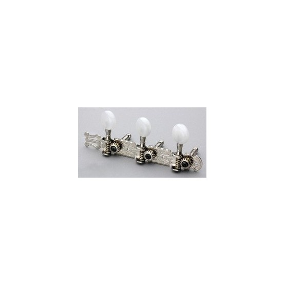 ALL PARTS TK0778001 3 X 3 TUNING KEYS OPEN GEAR ON PLANK W WHITE ROUND BUTTONS