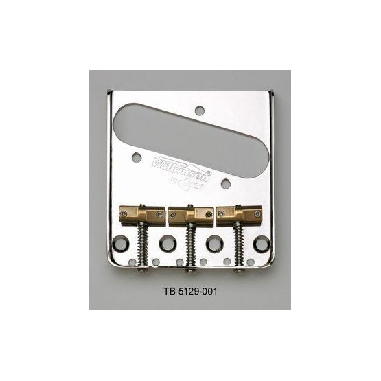 WILKINSON TB5129001 VINTAGE STYLE STEEL BRIDGE FOR TELE, STAGGERED SADDLES, NICKEL, 2-1/8 SPACING