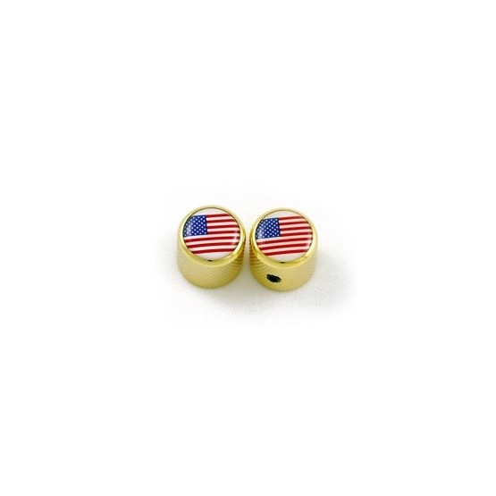 ALL PARTS MK3316002 USA FLAG ON GOLD DOME KNOBS (2), FITS SPLIT SHAFT POTS
