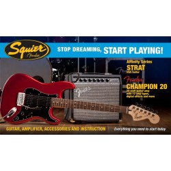 SQUIER STOP DREAMING START PLAYING SET AFFINITY STRAT CAR HSS Y AMPLIFICADOR FENDER CHAMPION20