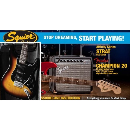 SQUIER STOP DREAMING START PLAYING SET AFFINITY STRAT BS HSS Y AMPLIFICADOR FENDER CHAMPION20