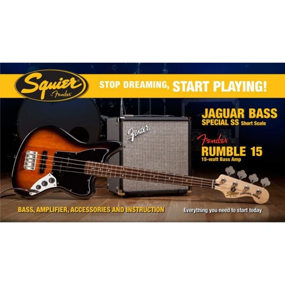 SQUIER STOP DREAMING START PLAYING SET JAGUAR BASS SS BS Y AMPLIFICADOR FENDER RUMBLE15