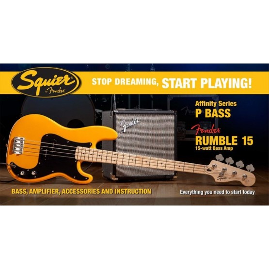 SQUIER STOP DREAMING START PLAYING SET AFFINITY PRECISION BASS BTB Y AMPLIFICADOR FENDER RUMBLE15