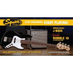 SQUIER STOP DREAMING START PLAYING SET AFFINITY JAZZ BASS BLK Y AMPLIFICADOR FENDER RUMBLE15