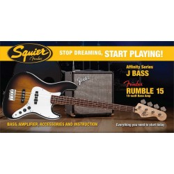 SQUIER STOP DREAMING START PLAYING SET AFFINITY JAZZ BASS BSB Y AMPLIFICADOR FENDER RUMBLE15