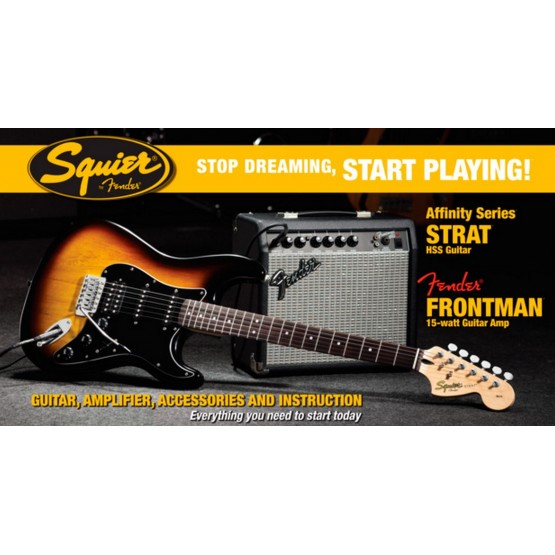 SQUIER STOP DREAMING START PLAYING SET AFFINITY BS HSS Y AMPLIFICADOR FENDER FRONTMAN 15G