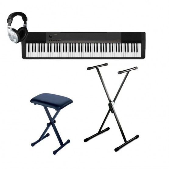 CASIO -PACK- CDP130 BK PIANO DIGITAL CON SOPORTE TIJERA + BANQUETA Y AURICULARES