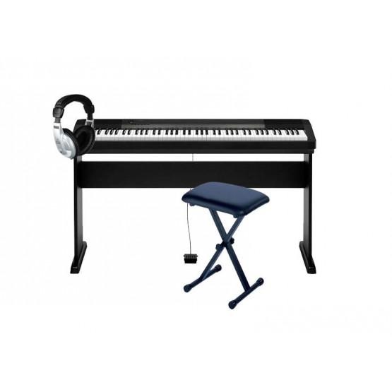 CASIO -PACK- CDP130BK KIT PIANO DIGITAL CON SOPORTE + BANQUETA Y AURICULARES. OUTLET