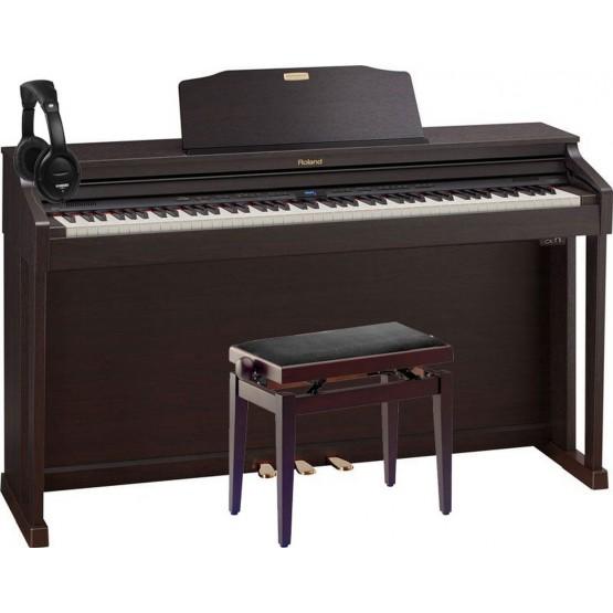 ROLAND -PACK- HP504 RW PIANO DIGITAL 88 TECLAS CONTRAPESADAS + BANQUETA Y AURICULARES