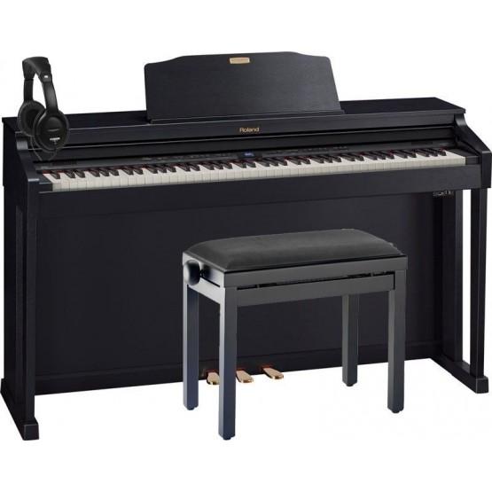 ROLAND -PACK- HP504 CB PIANO DIGITAL 88 TECLAS CONTRAPESADAS + BANQUETA Y AURICULARES