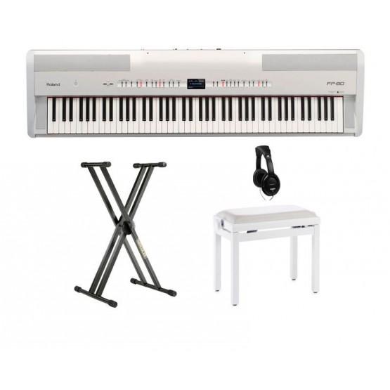 ROLAND -PACK- FP80WH PIANO DIGITAL NEGRO + SOPORTE + BANQUETA Y AURICULARES