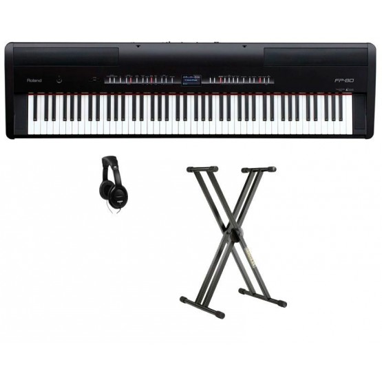 ROLAND -PACK- FP80BK PIANO DIGITAL NEGRO + SOPORTE Y AURICULARES. OUTLET