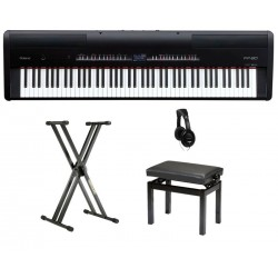 ROLAND -PACK- FP80BK PIANO DIGITAL NEGRO + SOPORTE + BANQUETA Y AURICULARES. OUTLET