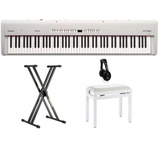 ROLAND -PACK- FP50WH PIANO DIGITAL BLANCO + SOPORTE + BANQUETA Y AURICULARES