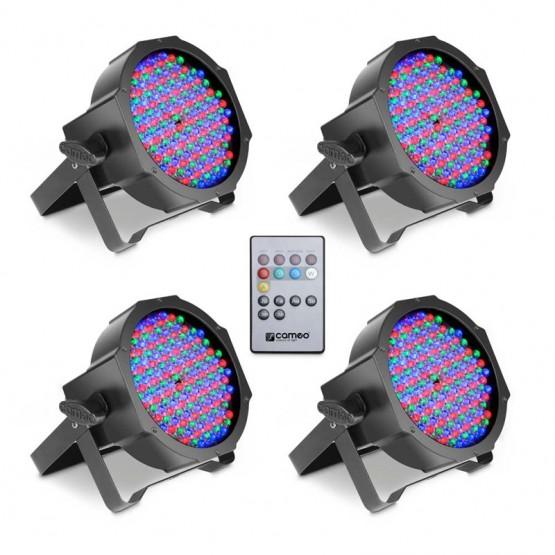 CAMEO CLPFLAT1RGB10IRSET1 SET DE 4 FOCOS PAR LED RGB PLANOS SPOT 144X10 MM CON MANDO A DISTANCIA