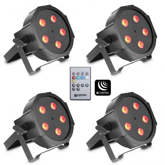 CAMEO CLPFLAT1TRI5X3WSET SET DE 4 FOCOS PAR LED TRICOLORES 5X3W