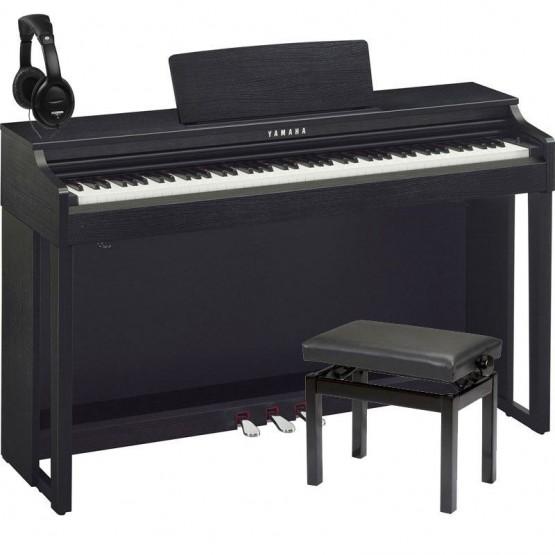 YAMAHA -PACK- CLP525 B PIANO DIGITAL NEGRO + BANQUETA Y AURICULARES
