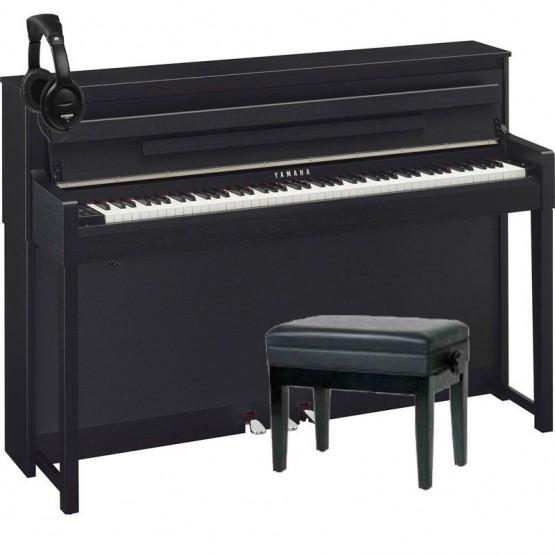 YAMAHA -PACK- CLP585 B PIANO DIGITAL NEGRO + BANQUETA Y AURICULARES