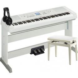 YAMAHA -PACK- DGX650 WH PIANO DIGITAL + PEDALERA + BANQUETA Y AURICULARES