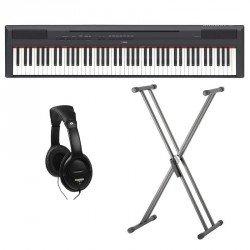YAMAHA -PACK- P115B PIANO DIGITAL NEGRO + SOPORTE TIJERA Y AURICULARES