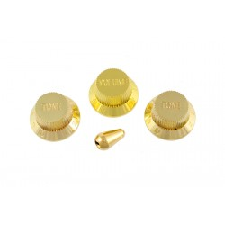 ALL PARTS PK0178002 GOLD PLASTIC KNOB SET FOR STRAT (1-VOLUME, 2-TONES, 1-SWITCH KNOB). OUTLET