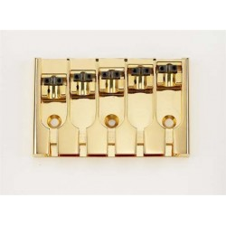 ABM BB3430002 5-STRING BRIDGE, LOCK-DOWN SADDLES, GOLD, ADJUSTABLE SPACING 2-9/16 TO 2-15/16