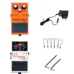 BOSS -PACK- DS1 PEDAL DISTORSION + BOSS TU3 AFINADOR + ALIMENTADOR Y CABLES