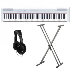 YAMAHA -PACK- P115WH PIANO DIGITAL BLANCO + SOPORTE TIJERA Y AURICULARES