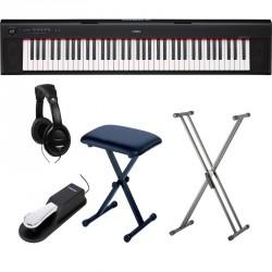 YAMAHA -PACK- NP32 PIANO DIGITAL PIAGGERO + SOPORTE TIJERA + BANQUETA + PEDAL SUSTAIN Y AURICULARES