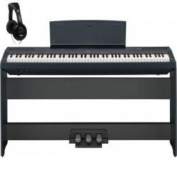 YAMAHA -PACK- P115B PIANO DIGITAL NEGRO + SOPORTE + PEDALERA Y AURICULARES