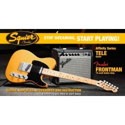 SQUIER STOP DREAMING START PLAYING SET AFFINITY TELECASTER BUTTER CON AMPLI  FENDER FRONTMAN 15G