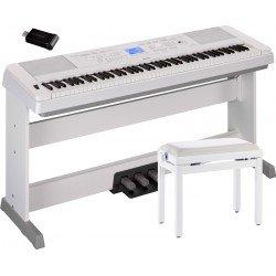 YAMAHA -PACK- DGX660 W PIANO DIGITAL + PEDALERA + BANQUETA Y ADAPTADOR USB