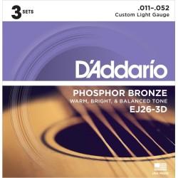 D'ADDARIO EJ263D JUEGOS CUERDAS GUITARRA ACUSTICA (SET 3) 011-052